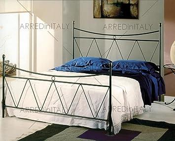 ARREDinITALY Cama de Matrimonio de Hierro Color Negro Grafito con pediera Completo de Red ortopédico y