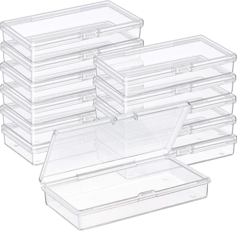 SATINIOR 12 Piezas Contenedor de Abalorios de Plástico Transparente Caja con Tapa de Bisagras para Abalorios y Más (4,8 x 2,45 x 0,9 Pulgadas)