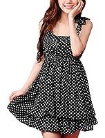 Allegra K Women Scoop Neck Sleeveless Dots Pleated Layered Mini Dress