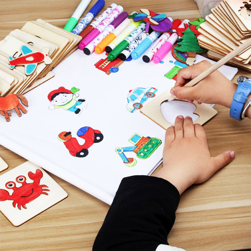 Amyove Children Painting Stencil Templates with Water Color Pen Set More Than 55 Stencil Creative Drawing Tools Gift for Kids