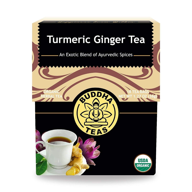 Buddha Teas Organic Turmeric Ginger Tea, 18 Bleach Tea Bags – Caffeine Free, Antioxidant, Antiviral, and Anti-Inflammatory, Immune Boosting Tea. Supports Digestion