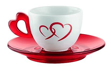 Guzzini Love Set 6 Tazzine Caffe con Piattini, Porcellana, Rosso ...
