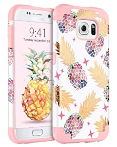 Case for Samsung Galaxy S6, BENTOBEN Cute Pineapple Girl Women Phone Cases Heavy Duty Dual Layer Hybrid Hard Glossy Cover Shockproof Protective Rugged Bumper Case for Galaxy S6 ((G920), Rose Gold/Pi