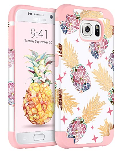 100% authentic 68291 fb93a Samsung Galaxy S6 Case, BENTOBEN Cute Pineapple Girl Women Phone Cases  Heavy Duty Dual Layer Hybrid Hard Glossy Cover Shockproof Protective Rugged  ...