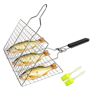 SHAN PU Grill Basket BBQ Grilling Basket with Removable Handle for Fish,Vegetables,Steak, Shrimp, Meat,Food Stainless Steel Grill Accessories