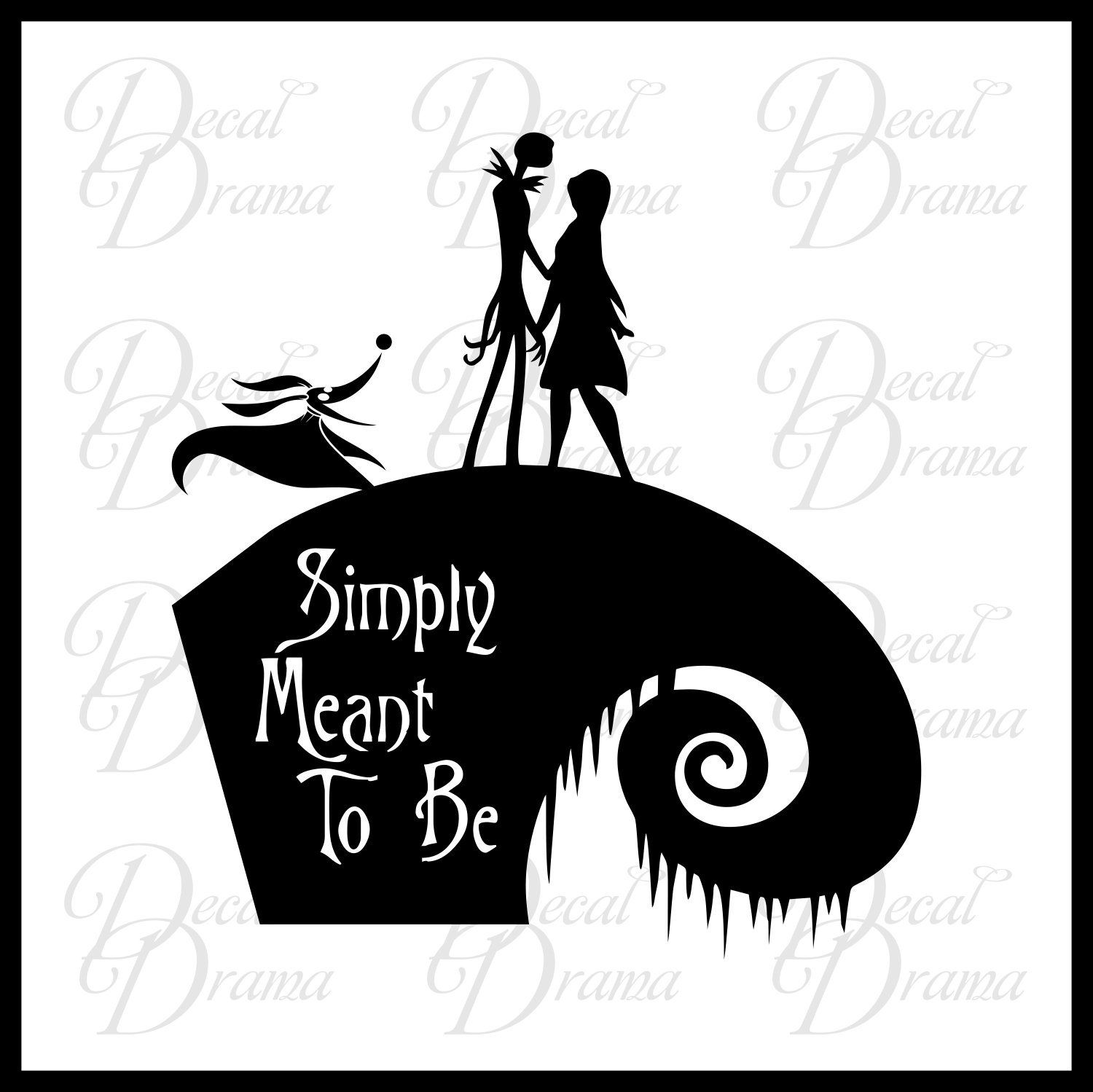 Simply Meant to Be, Jack Skellington & Sally, Disney-inspired Fan Art Vinyl Car/Laptop Decal, Nightmare Before Christmas