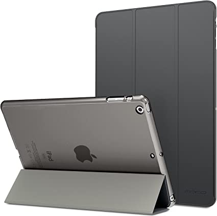 Image ofMoKo Funda para iPad Air - Ultra Slim Lightweight Función de Soporte Protectora Plegable Smart Cover Trasera Transparente Durable - Gris Espacial (No es Compatible con el iPad Air 2)
