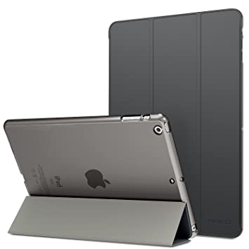 MoKo Funda para iPad Air - Ultra Slim Lightweight Función de Soporte Protectora Plegable Smart Cover Trasera Transparente Durable - Gris Espacial (No ...