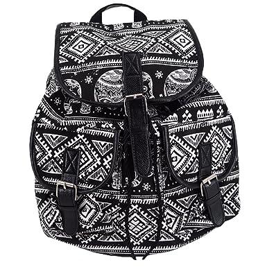c0838a837db3 Women Girls Ethnic Style Canvas Drawstring Bag Floral Printing Backpack  School Rucksack(Black)