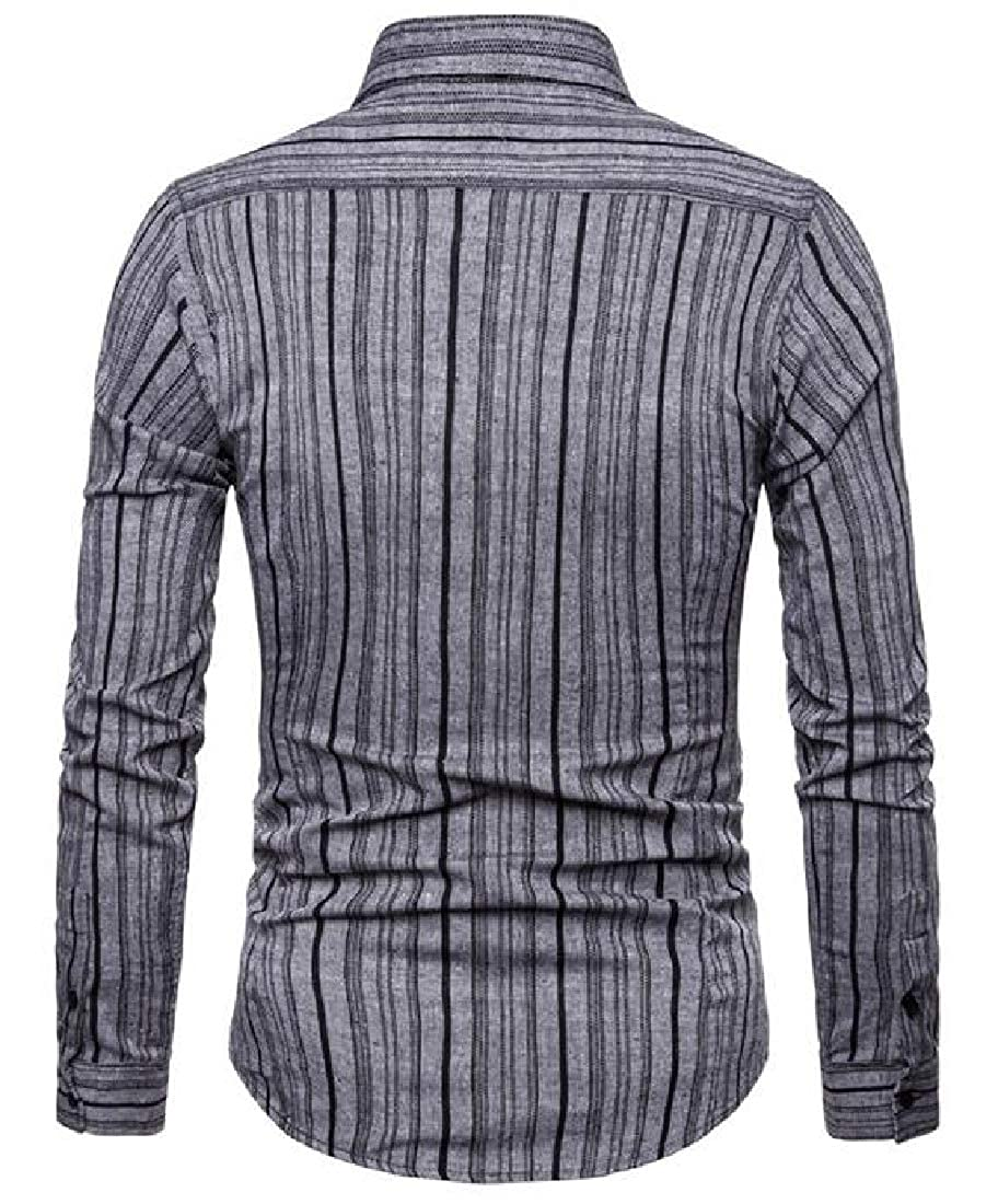 Fubotevic Mens Comfy Regular Fit Button Down Color Blocked Stripe Print Long Sleeve Button Up Dress Shirt