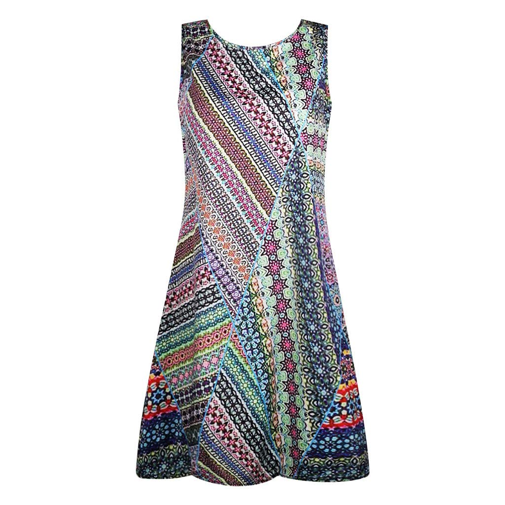 AIEson Womens Sleeveless Floral Printed Dress Summer A-Line O-Neck Dress Ladies Above Knee Mini Casual Sundress