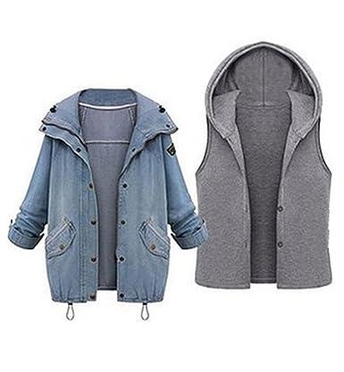 M-Queen Mujer Denim Chaqueta Otoño Invierno Jeans Jacket Mezclilla Doble Abrigos con Capucha Cardigans + Chalecos Outwear 2 in 1 Talla Grande: Amazon.es: ...