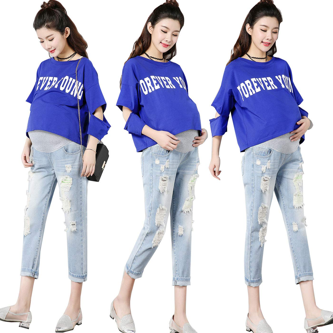 69e0ffee0fb FEOYA Skinny Jeans for Pregnant Women Butt Lifting Stretch Denim Pants  Leggings at Amazon Women s Clothing store