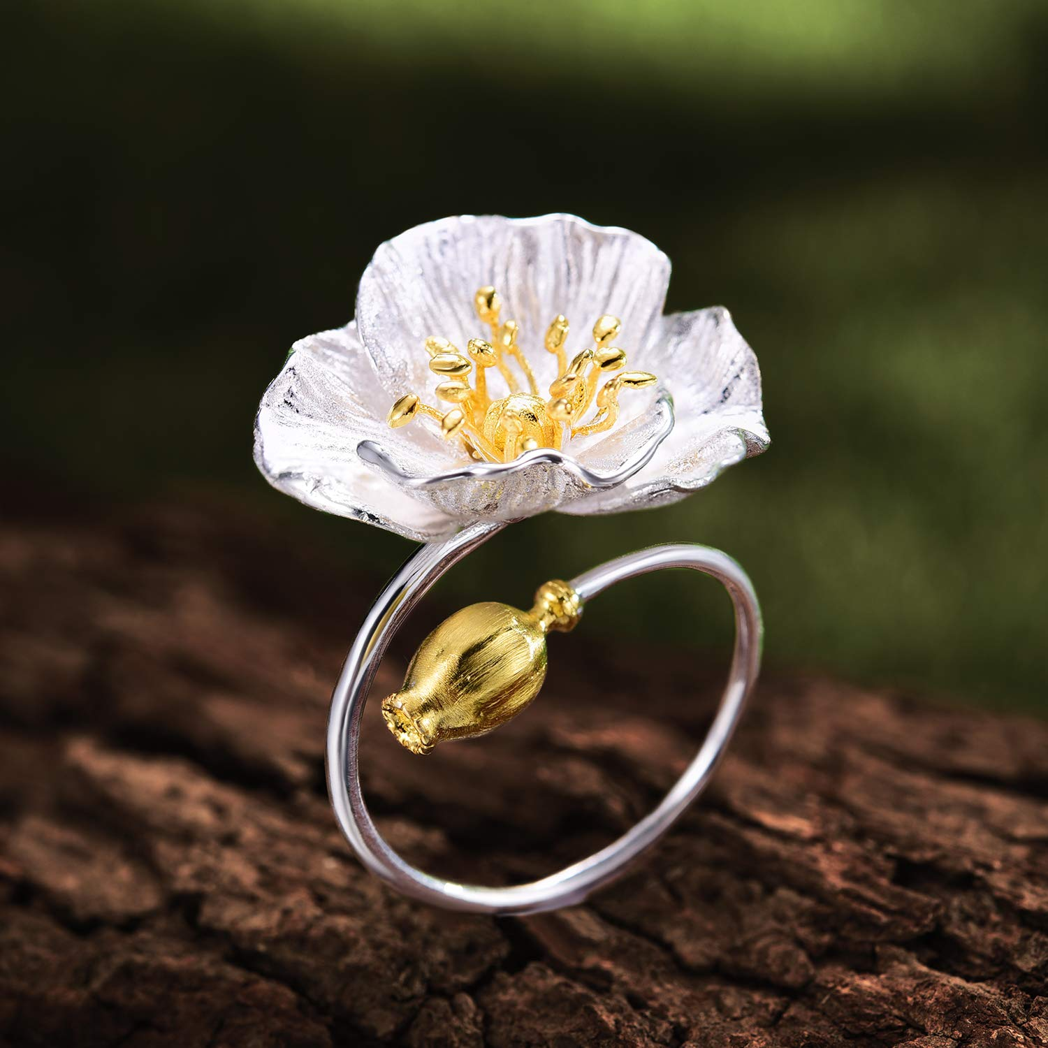 Lotus Fun S925 Sterling Silver Rings Blooming Poppies Flower Rings Funny Original Design Adjustable Rings Handmade Jewelry Unique Gift for Women and Girls