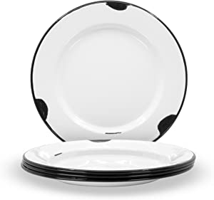 Red Co. Enamelware Metal Classic 10 inch Round Dinner Plate, Distressed White/Black Rim - Set of 4