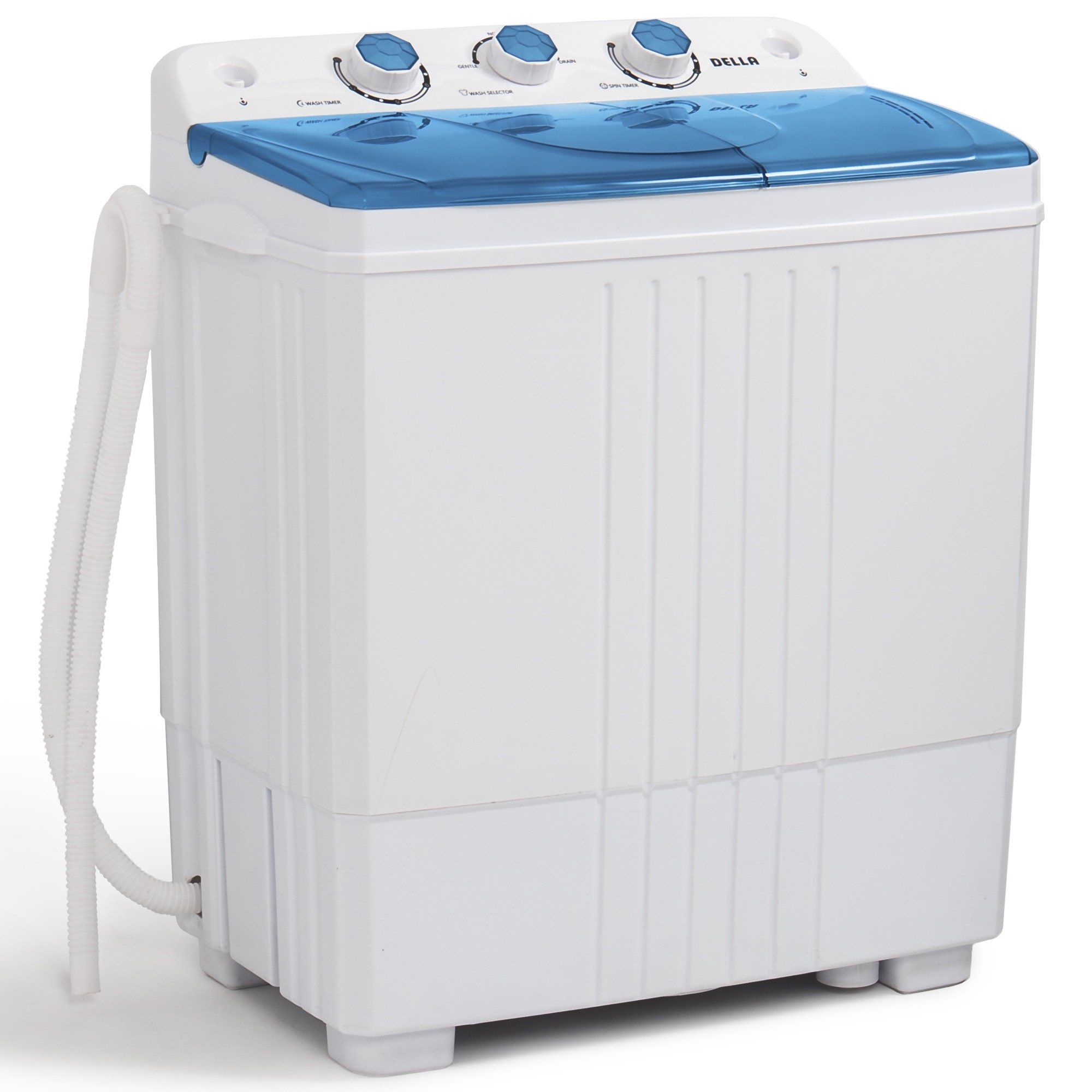 DELLA Small Compact Portable Washing Machine Top Load Laundry Washer with Spin & Dryer, 11lbs Capacity White Blue by DELLA