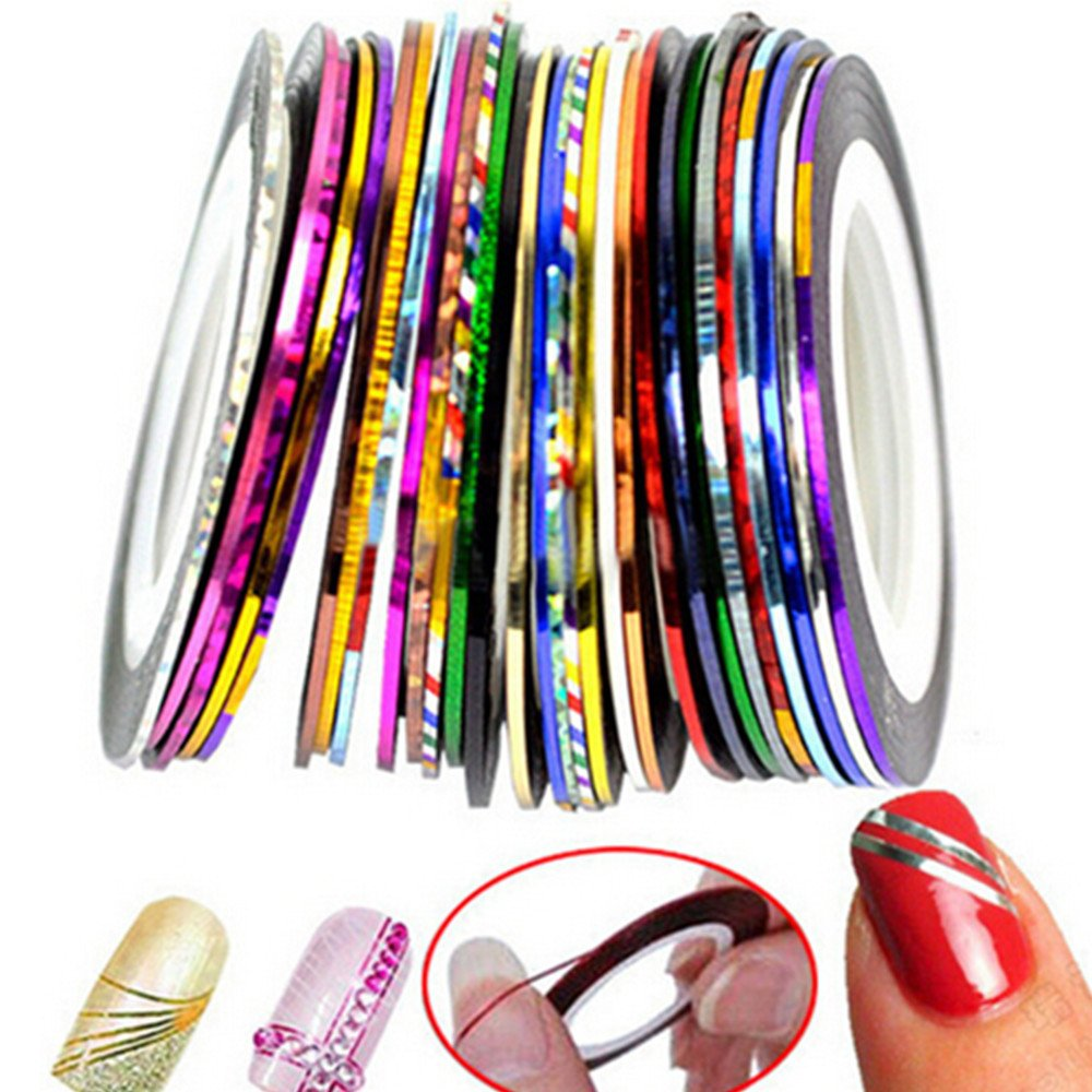 30 Colors Multicolor Mixed Striping Tape Lines for Nail Art Decoration Sticker DIY Nail Design Tips Disposable Women Manicure Art China