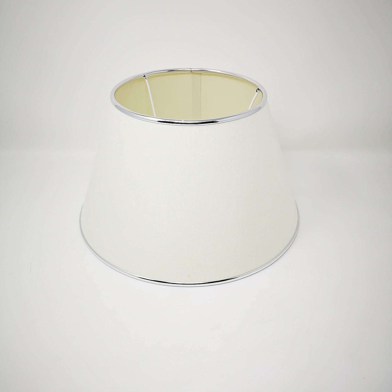 Pantalla de tela cónica para lámpara de pie, color blanco con borde cromado, pantalla de repuesto diámetro inferior 30 cm, casquillo E27: Amazon.es: Iluminación