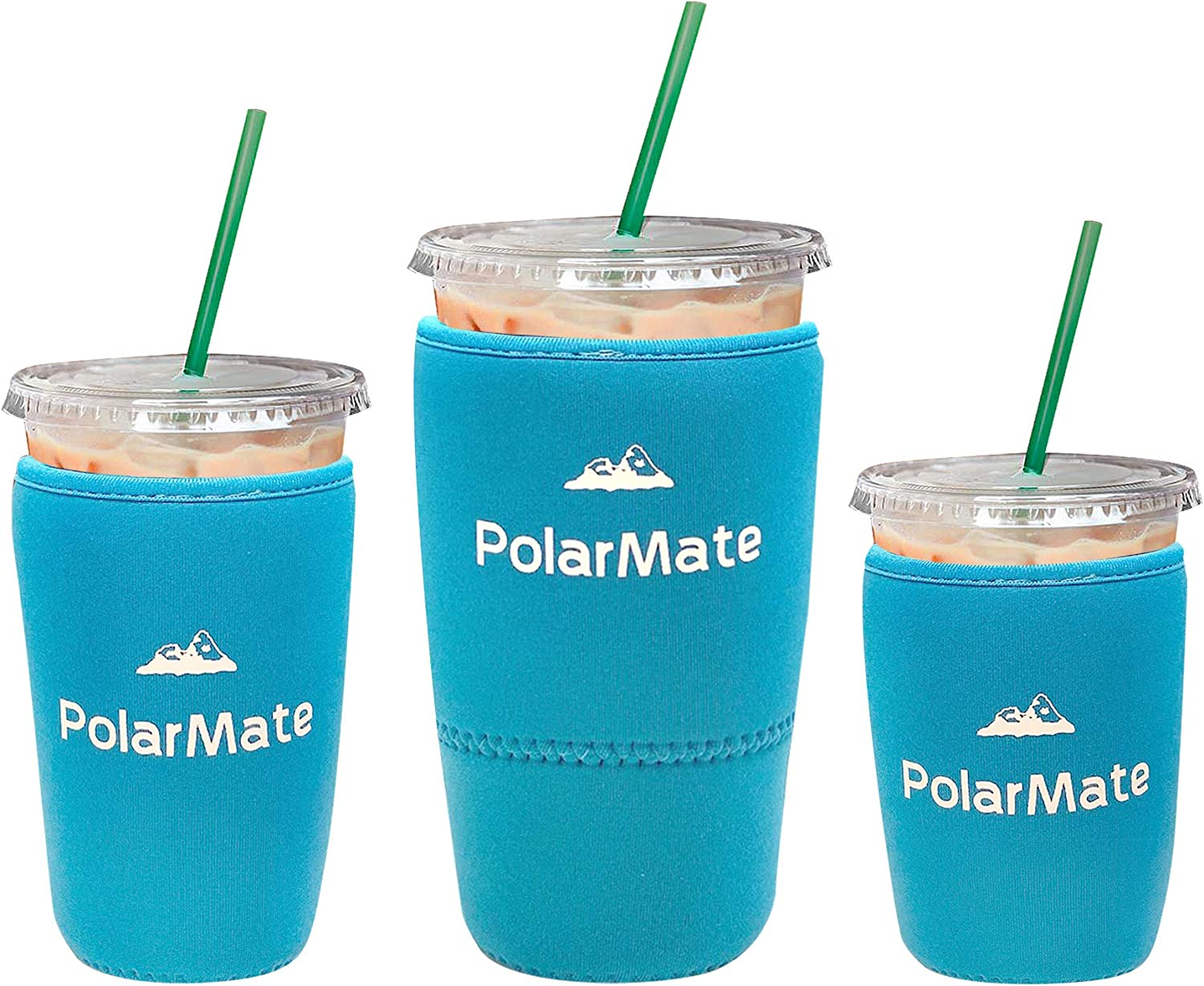 3 Pack Reusable Iced Coffee Sleeve | Insulator Cup Sleeve for Cold Drinks Beverages | Neoprene Cup Holder | Ideal for Starbucks, McDonalds, Dunkin Donuts & More (Light Blue)