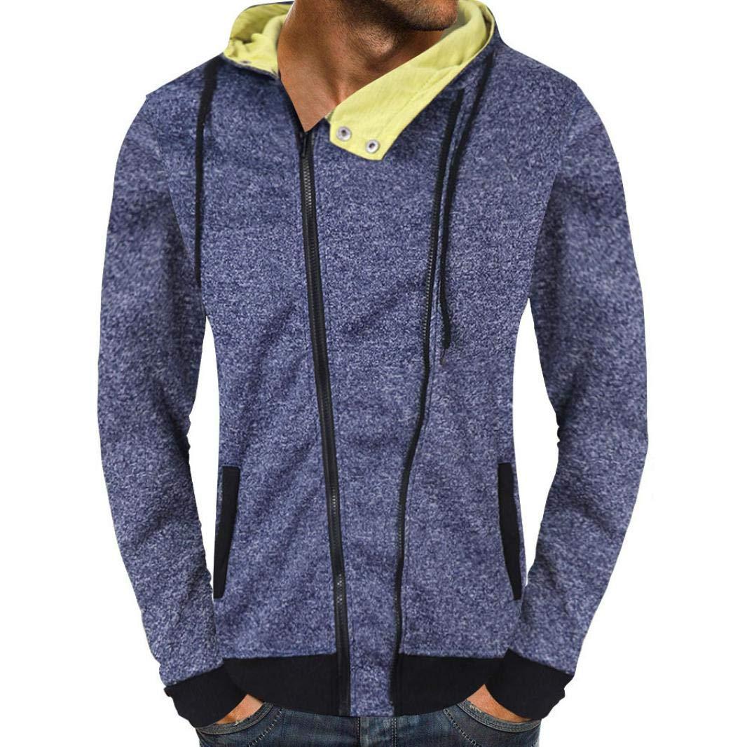 Shybuy Mens Fashion Long Sleeve Slim Fit Hoodie Hooded Sweatshirt Tops Zip-up Jacket Coat (Blue, M)