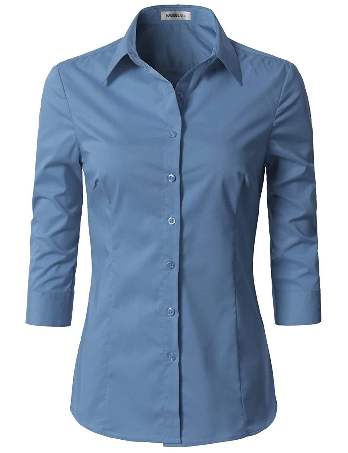 7f10c129497  CWTSTS09 - Womens Basic Slim Fit Simple 3 4 Sleeve Button Down Shirt With Plus  Size Features Button Down Front