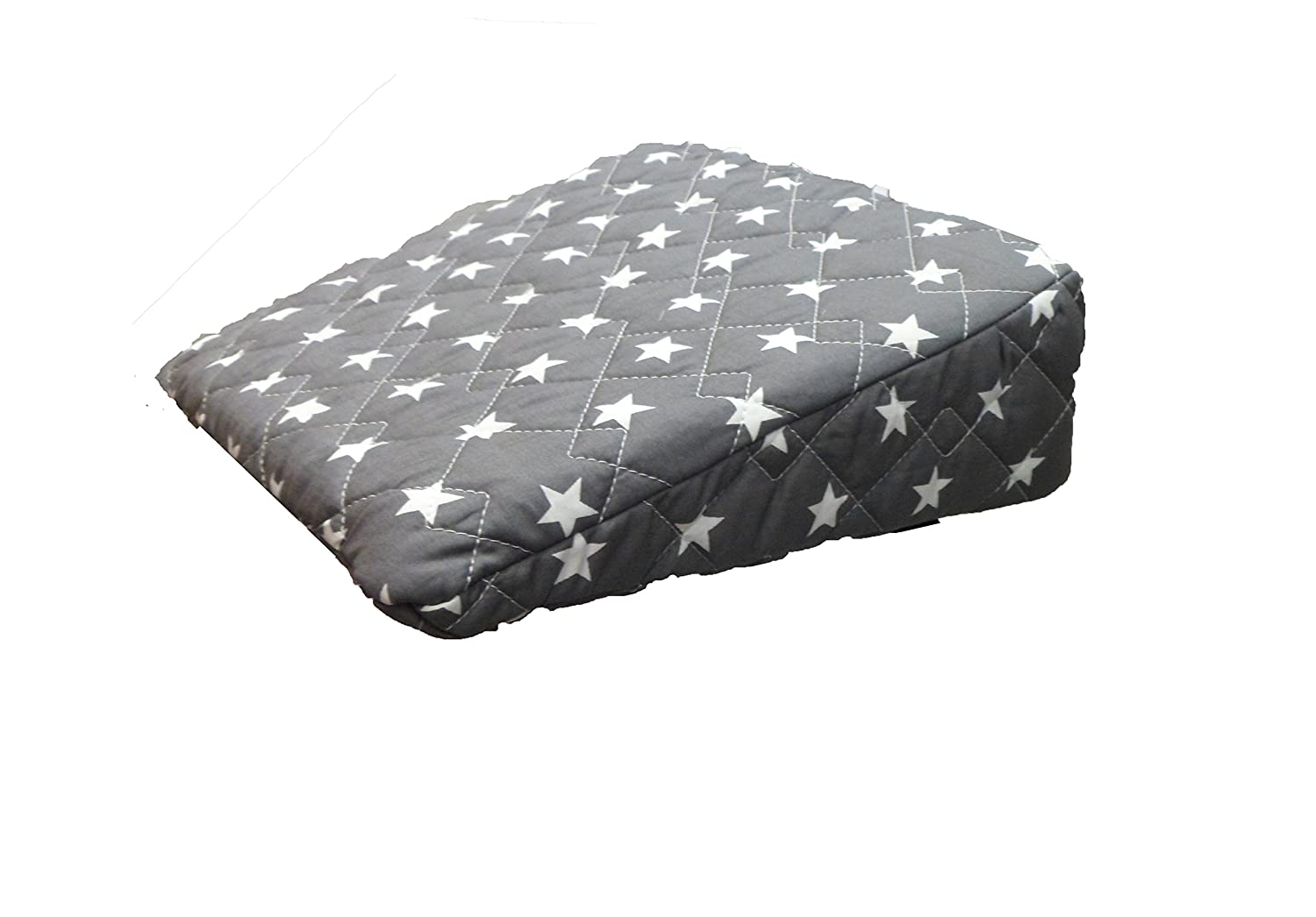 Pregnancy Maternity Large Comfy Back & Bump Support WEDGE Cushion - DARK GREY STARS - WITH QUILTED COVER - 30x30cm Baby Best Buys
