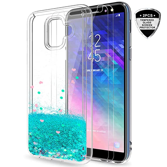 buy online 165f8 3fcb0 Galaxy A6 case with Tempered Glass Protector [2 Pack] for Girls Women, LeYi  Glitter Bling Cute Girly Moving Quicksand Liquid Clear TPU Protective ...