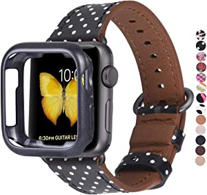 JSGJMY Compatible with Apple Watch Band 38mm 40mm with Case,Women Genuine Leather Strap with Space Grey Adapter and Buckle for iwatch Series 5/4/3/2/1, Black & White Polka Dot
