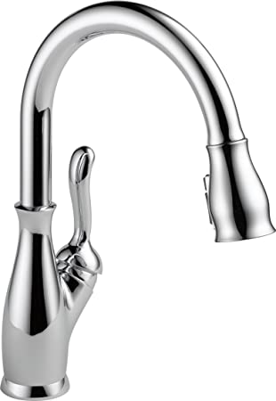 Delta Faucet Leland Single Handle Kitchen Sink Faucet With Pull Down Sprayer Shieldspray Technology And Magnetic Docking Spray Head Chrome 9178 Dst Touch On Kitchen Sink Faucets Amazon Com