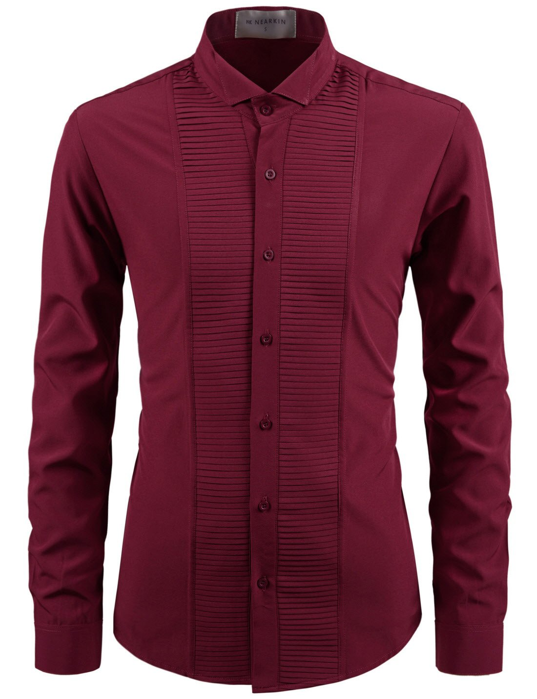 NEARKIN (NKNKS660) Adorable Mens Wrinkle Free Stretchy Fitted Dress Shirts WINE US XL(Tag size XL)