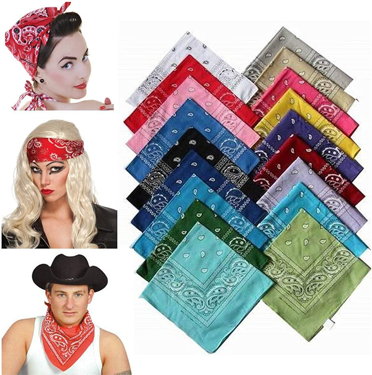 TOYMYTOY 100/% Polyester Bandanas Multi-Purpose Paisley Bandanas Headband Pack of 12,21x 21 inch Random Color