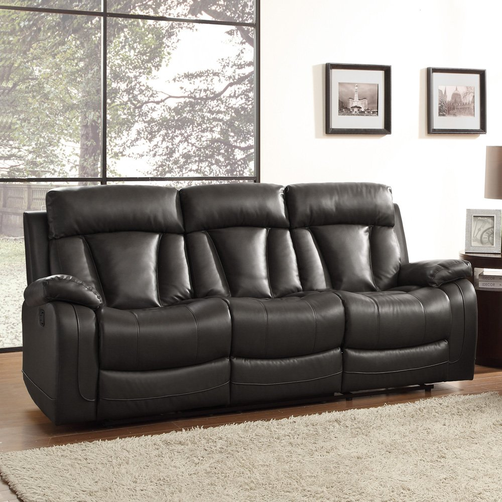 Amazon.com: Homelegance 8500BLK 3 Double Reclining Sofa, Bonded Leather  Match, Black: Kitchen U0026 Dining Part 87
