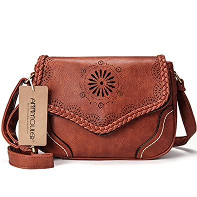 e9e1be42be7 Amazon.com: Women Shoulder Bag Vintage Pu Leather Crossbody Bag ...