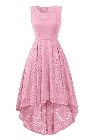 GREMMI Lace Cocktail Dress Womens Sleeveless Vintage High-Low Formal Evening Dresses, Bright Pink