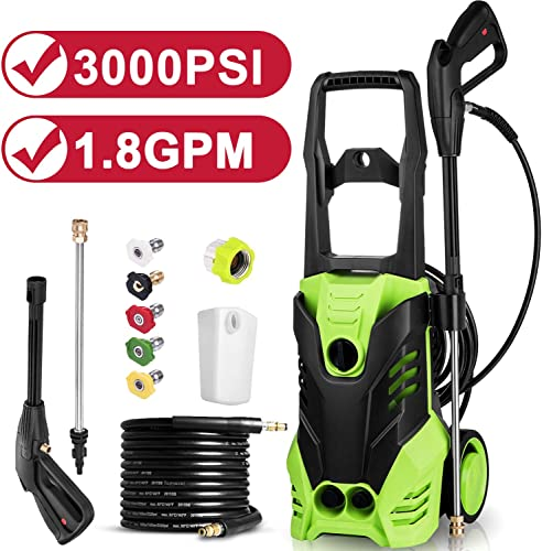 Himimi 3000 PSI Electric Pressure Washer,1.8 GPM 14.5-Amp Power Washer Machine with All-in-One Nozzle, Hose Reel,Detergent Tank and Best for Cleaning Car Vehicle Floor Wall Furniture Outdoor