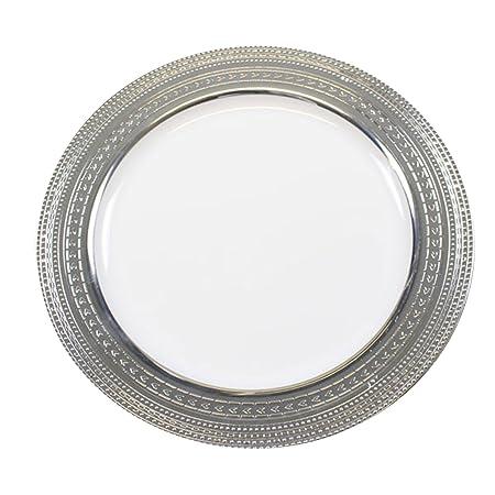 Strong Disposable Plastic White Plates With Silver Rim u2013 Plastic Wedding u0026 Christmas Tableware (9u0026quot  sc 1 st  Amazon UK & Strong Disposable Plastic White Plates With Silver Rim - Plastic ...
