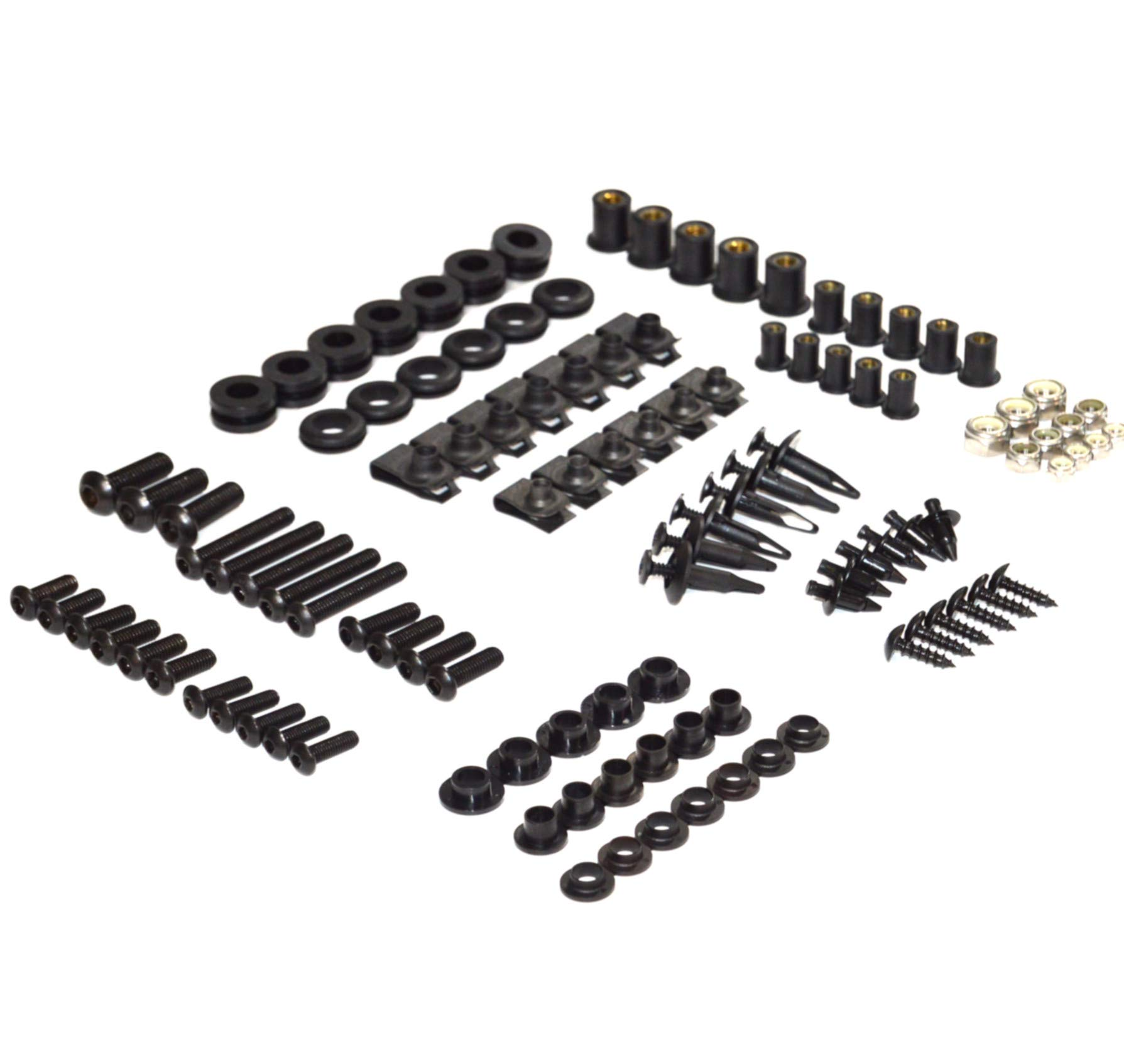 Black Complete Motorcycle Fairing Bolt Kit Yamaha YZF-R6 2008-2015 Body Screws, Fasteners, and Hardware