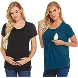 UNibelle Donna Maglia Premaman Allattamento Maglieria per maternità Shirt Corta Maglietta Casual Top Manica Corta S-XXL