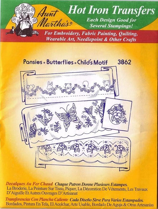 Amazon.com: Pansies ° Butterflies ° Child\'s Motifs Aunt Martha\'s Hot ...
