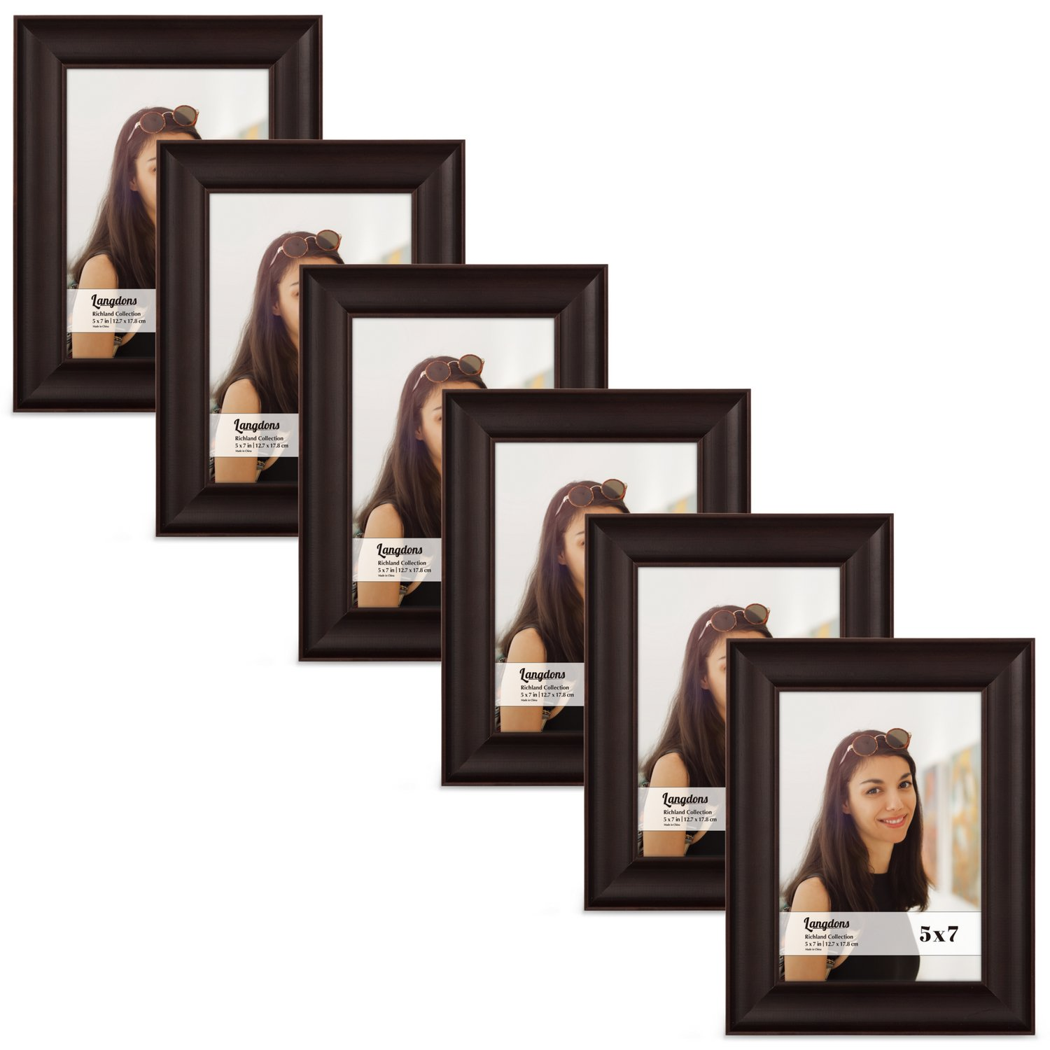 Langdons 5x7 Picture Frame Set (6-Pack, Dark Brown) Solid Wood Photo Picture Frames 5x7, Wall Hanging or Table Top, Display Picture Frame 5x7 Vertically or 7 x 5 Horizontally, Richland Series