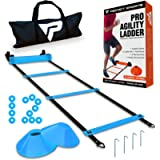 Pro Agility Ladder and Cones - 15 ft Fixed-Rung Speed Ladder with 12 Disc Cones for Soccer, Football, Sports, Exercise…