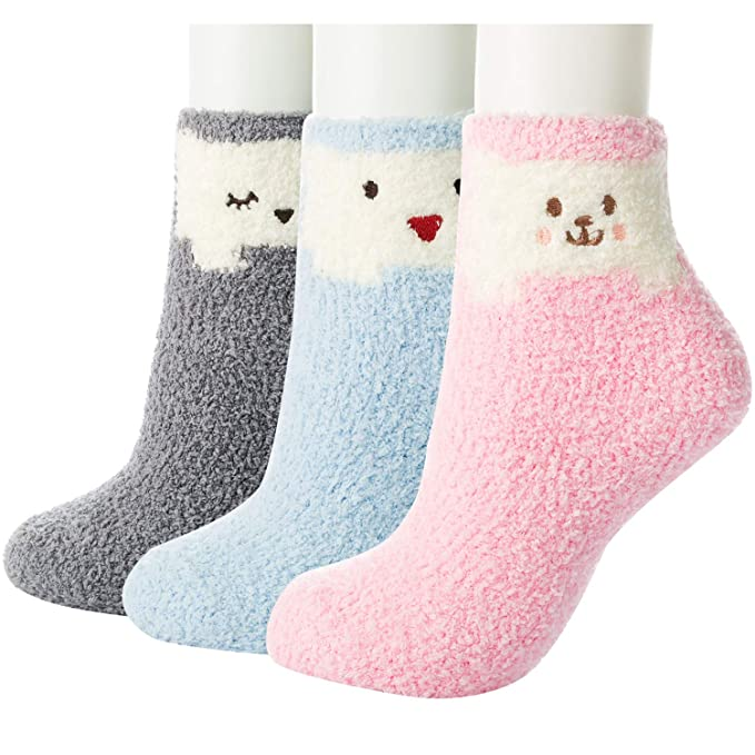 best choice 100% high quality preview of ZSHAWN Winter Fuzzy Socks for Women, 3/6 Pair, Warm Plush Comfort Slipper  Luxury, Crew Socks
