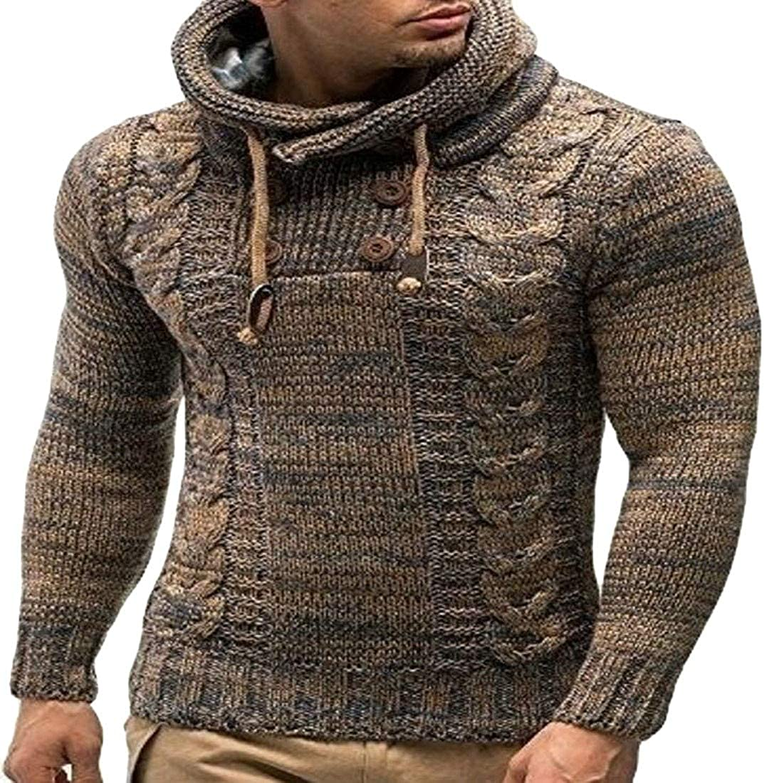 Pandapang Men Pullover Turtleneck Long Sleeve Cable Knit Winter Sweater