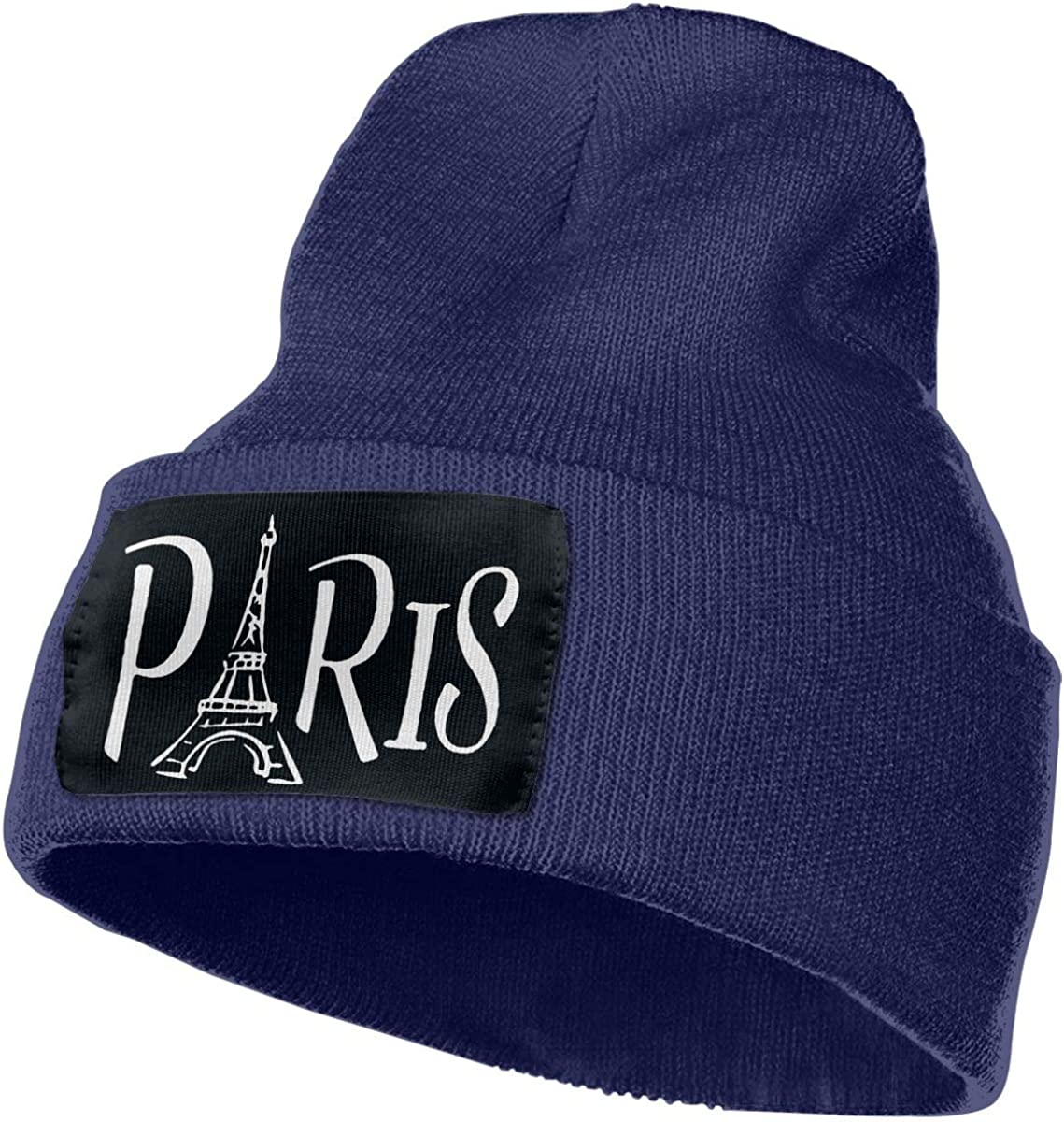 Paris Eiffel Tower Winter Warm Hats,Knit Slouchy Thick Skull Cap Black