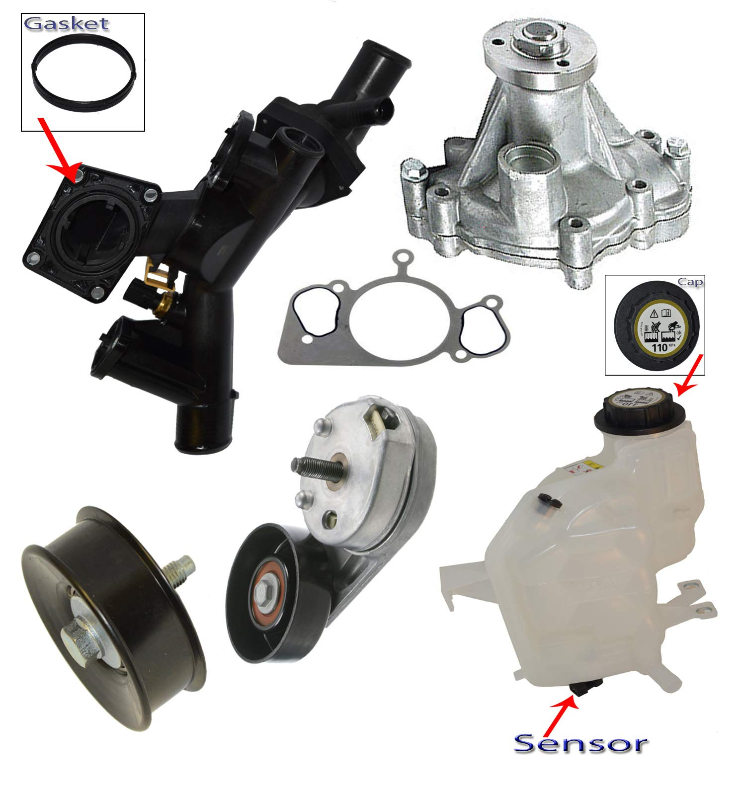 Engine Coolant Thermostat Water Outlet Assembly Land Rover LR3 Range Rover Sport