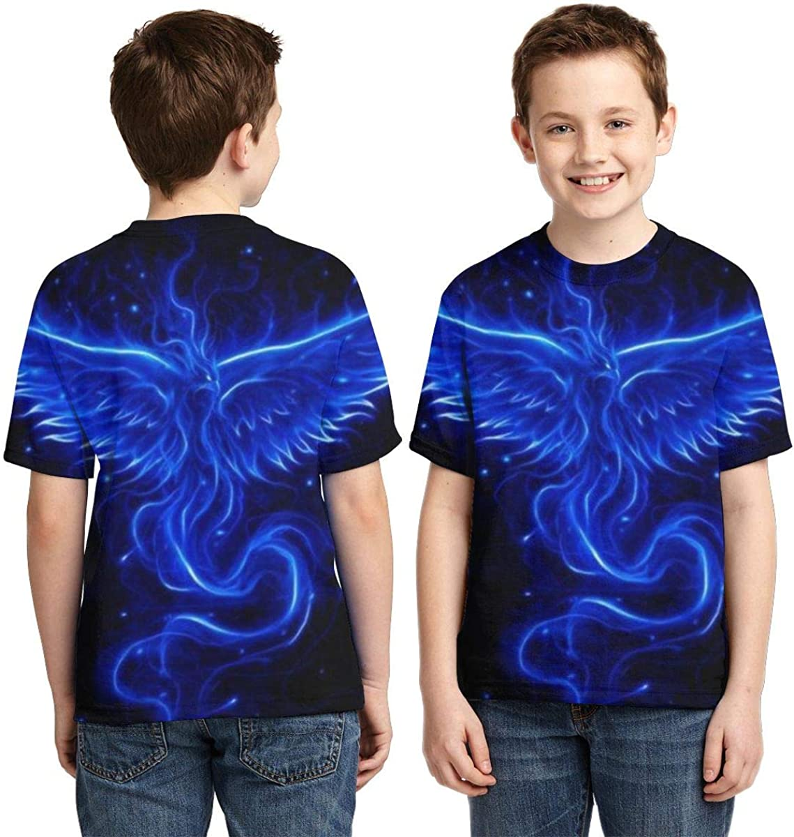 Youth T-Shirts Summer Tops for Boys Cool Blue Phoenix Full Printed Short Sleeve Crew Neck Tees