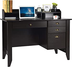 Computer Desk with Drawers and Hutch, Executive Desk Teens Study Student Desk Writing Home Office Desks for Small Spaces Bedroom Wood Furniture, Walnut Brown