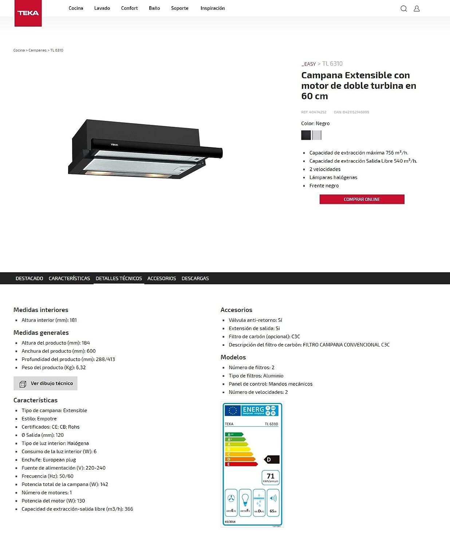 Teka TL 6310 Telescópica o extraplana Negro 332m³/h E - Campana (332 m³/h, Canalizado/Recirculación, F, g, D, 56 dB): Amazon.es: Grandes electrodomésticos