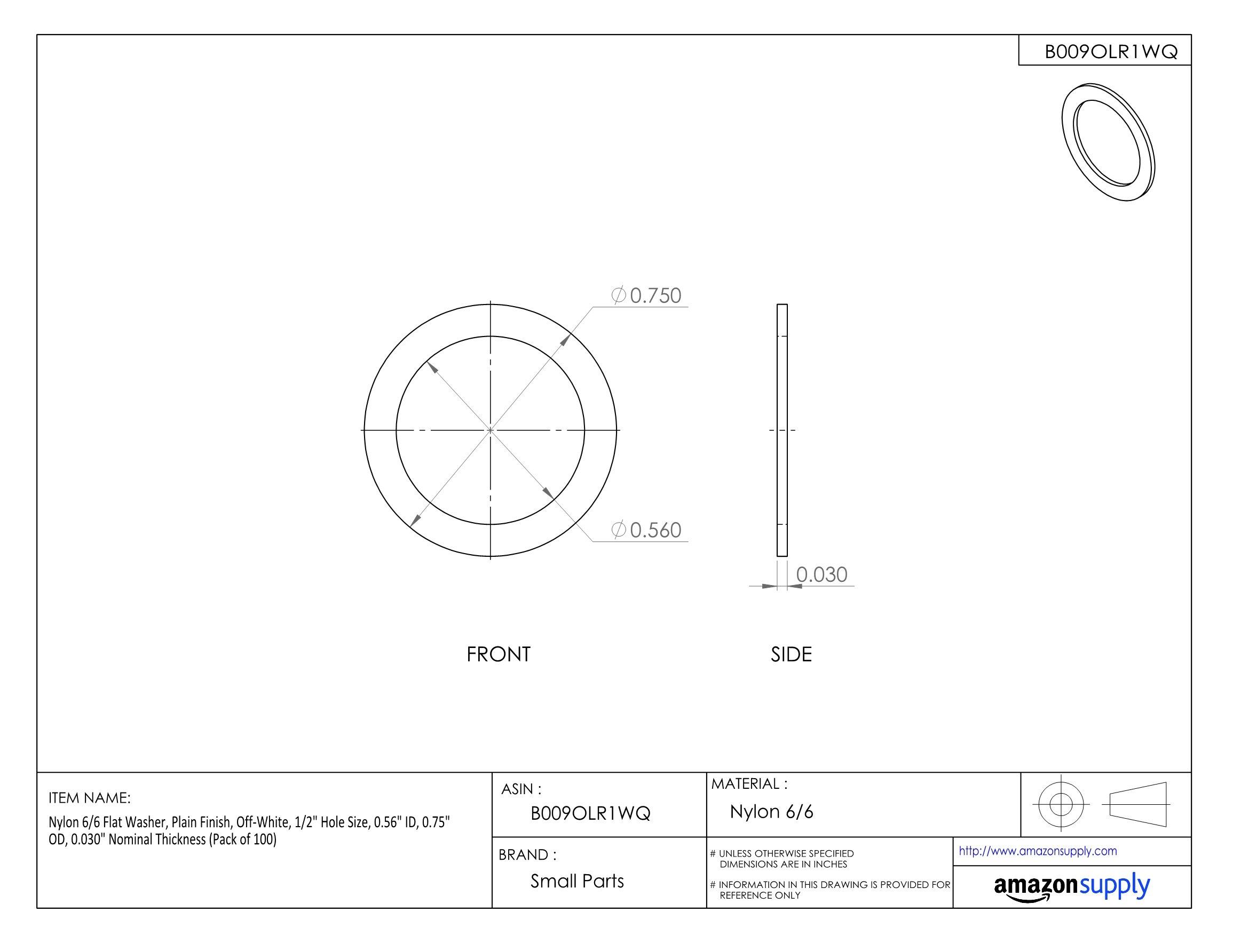 Nylon 6/6 Flat Washer, Plain Finish, Off-White, 1/2'' Hole Size, 0.56'' ID, 0.75'' OD, 0.030'' Nominal Thickness (Pack of 100)