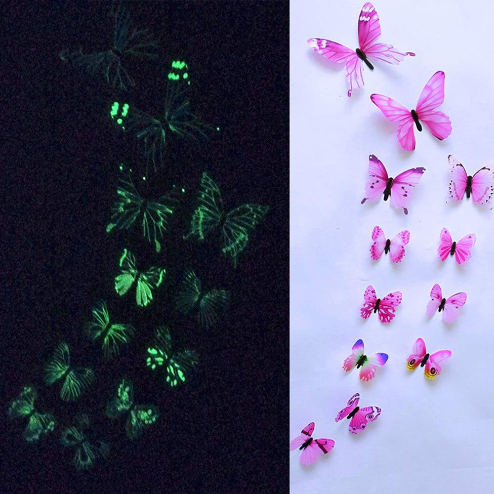 Elevin(TM)  12pcs Luminous Butterfly Design Decal Art Wall Stickers Room Magnetic Decor PK